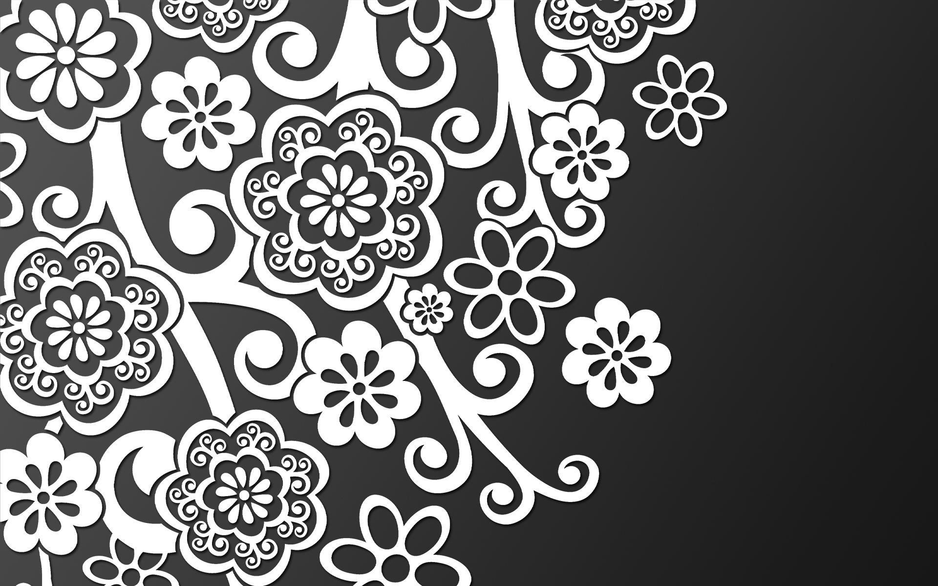 White pattern on black wallpapers and images 1920x1200