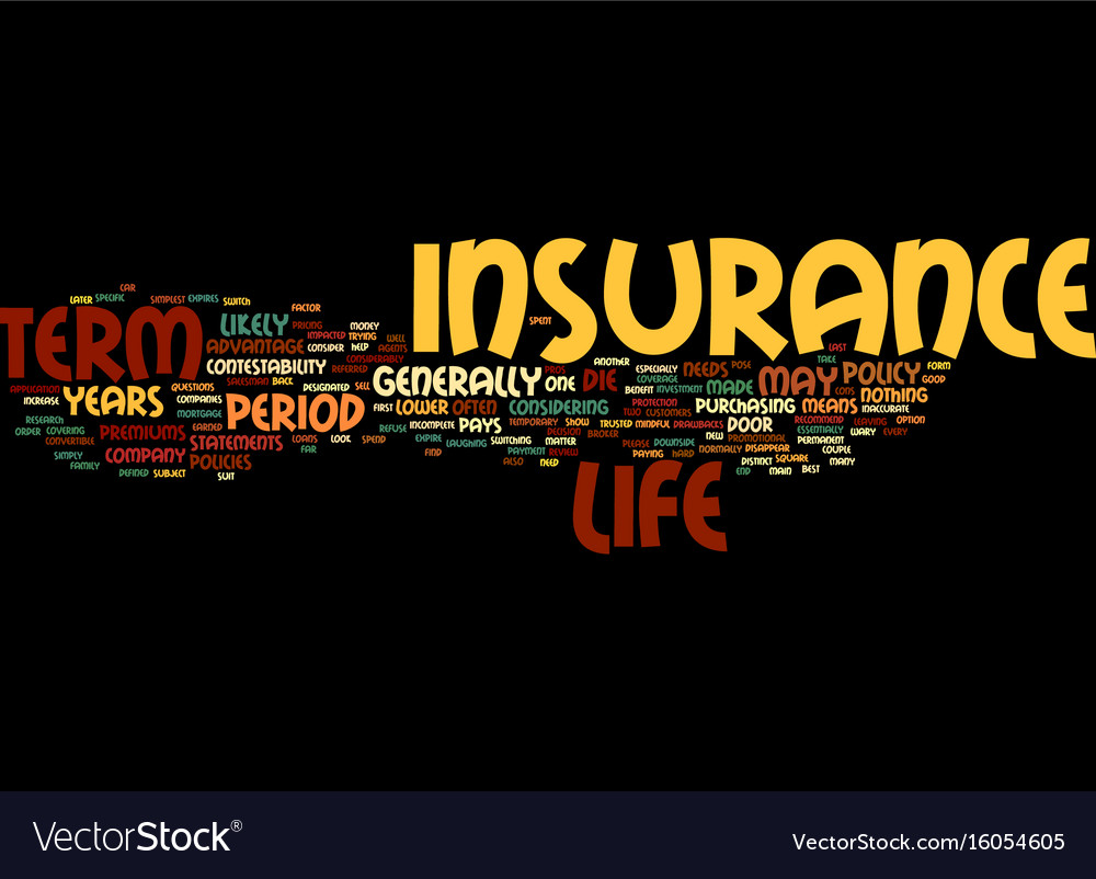 Term life insurance defined text background word Vector Image 1000x802