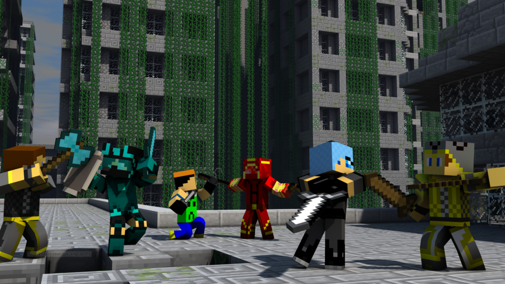 Minecraft Skins battle WallpaperPVP Time by jesusromerox on 1024x576