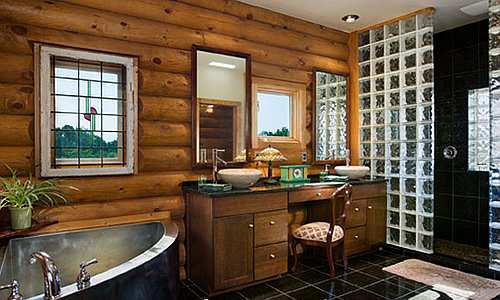 log cabin wall in your bathroom Rustic is all about a natural look 500x300