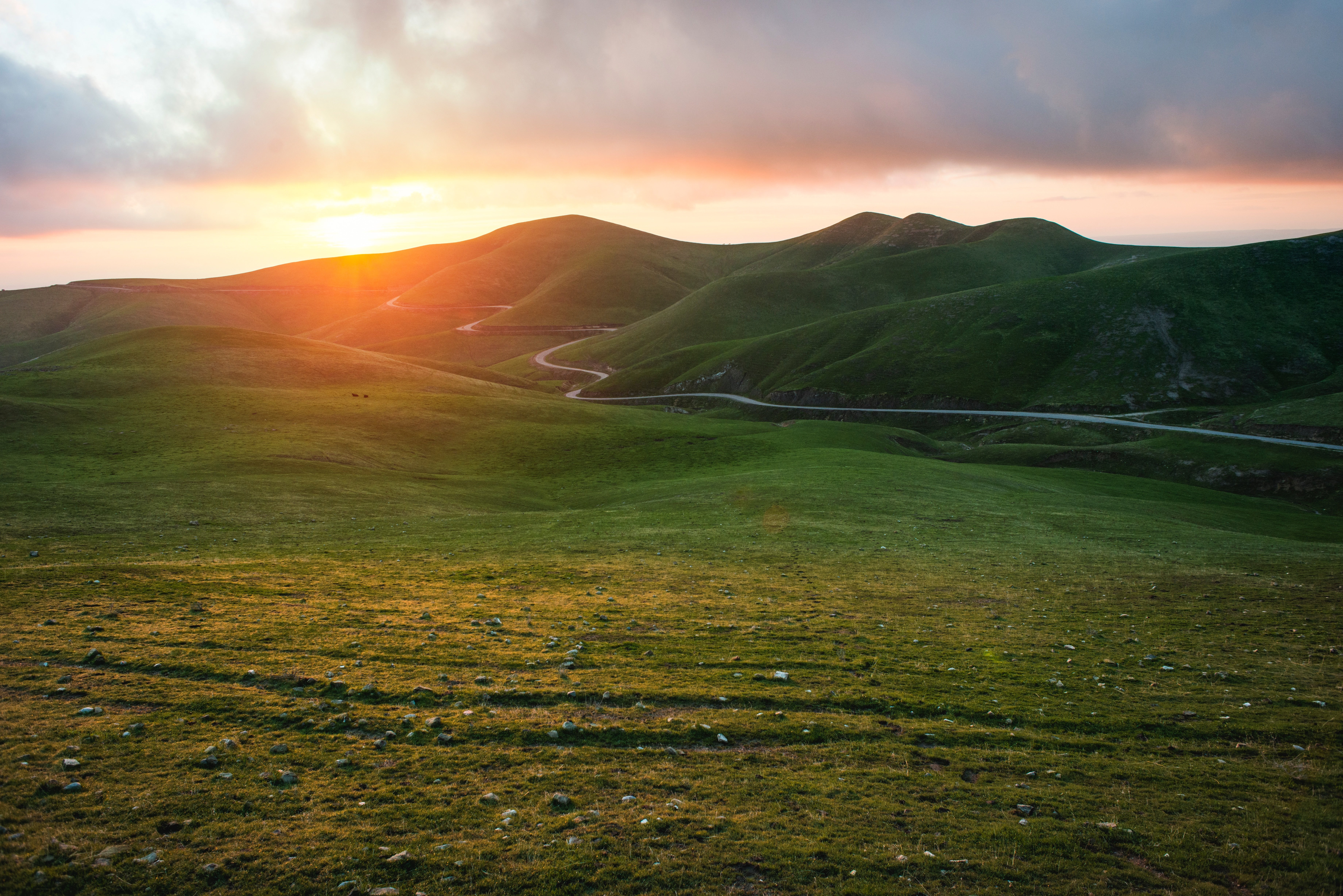 Download wallpaper 7360x4912 valley grass sunset path hd background 7360x4912