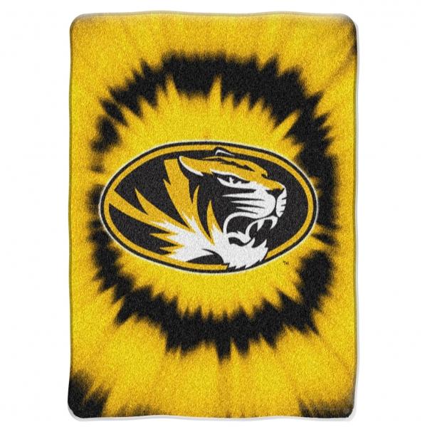 Missouri Tigers College Tie Dye 60 x 80 Super Plush Throw 600x600