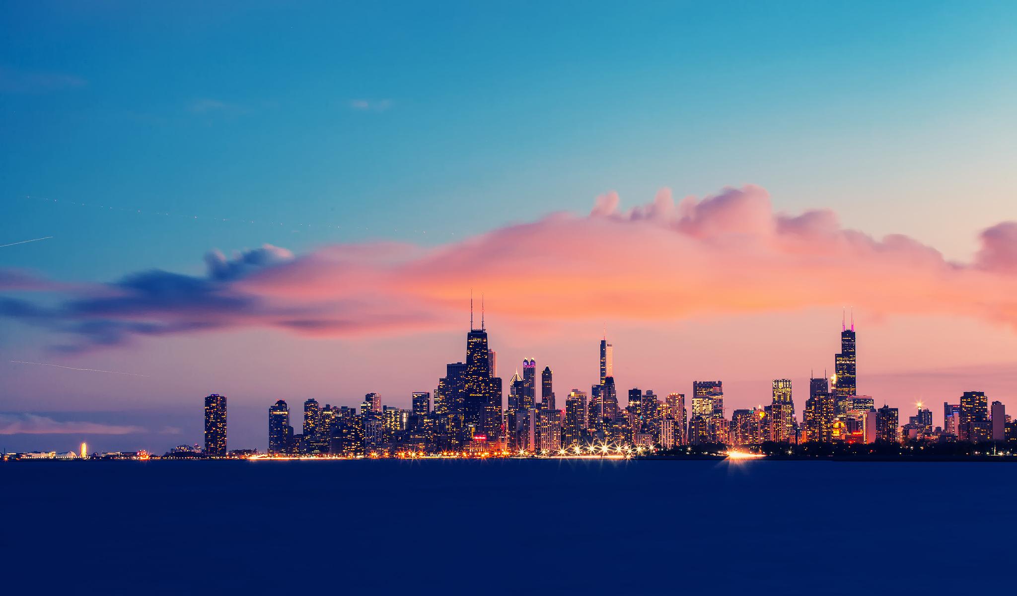 USA Illinois Chicago Lake Michigan endurance evening 2048x1200