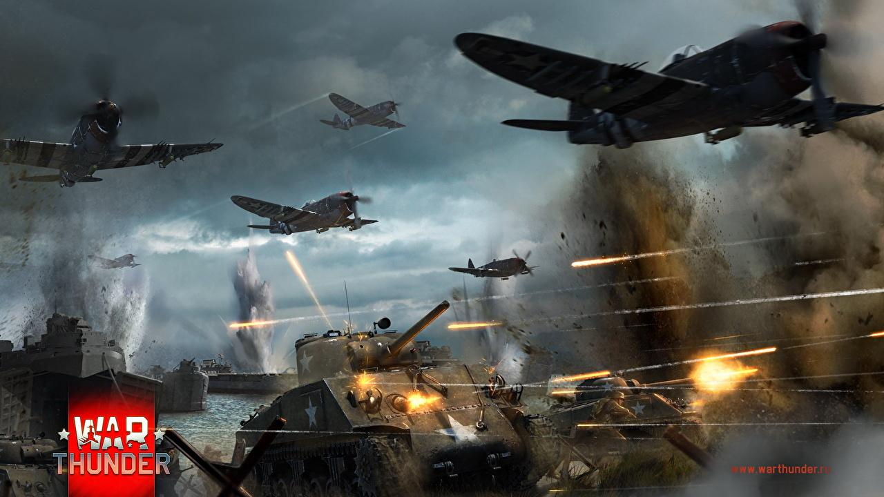 Desktop Wallpapers War Thunder Airplane P 47 M4 Sherman Games 1280x720