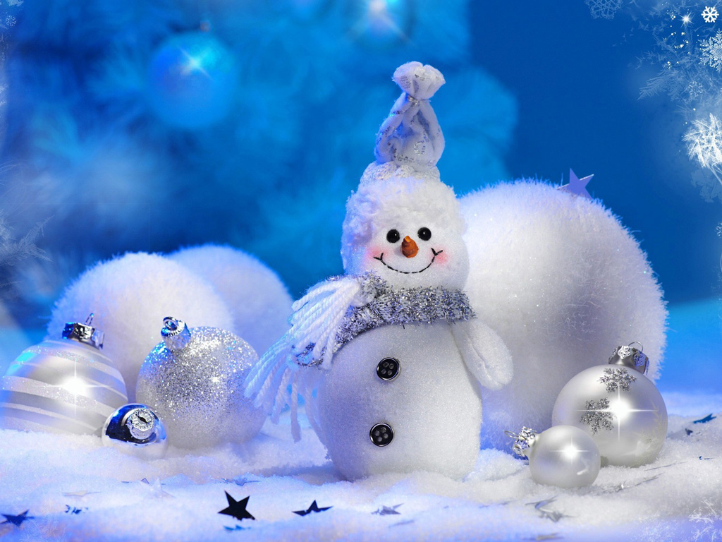 size 1024x768 desktop wallpaper of cute christmas snowman 1024x768