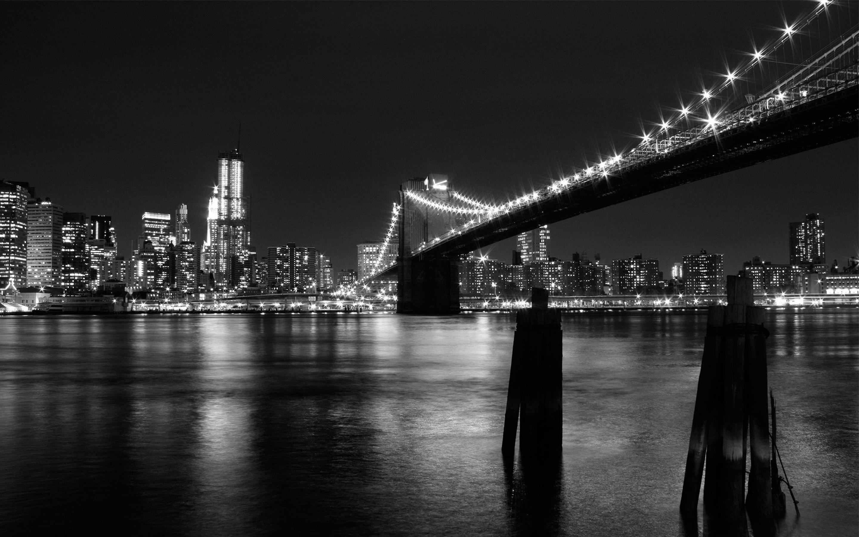 New York Bridge Black and White Wallpaper   HD Background 2880x1800