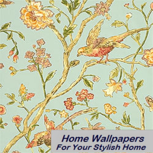 Thibaut Wallpaper Great Estates Aviary T5838 Teal 500x500