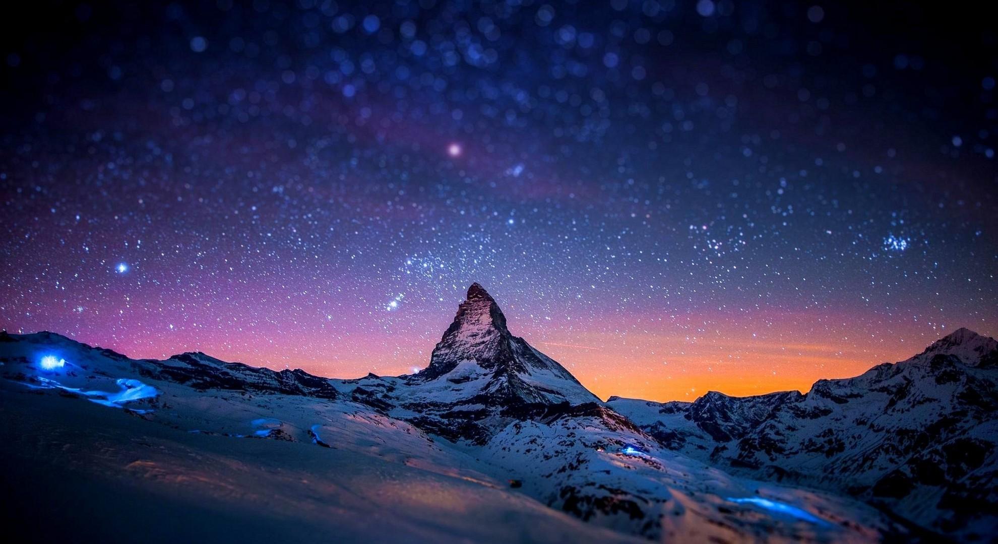 Mountain Night Stars Winter Lights Bokeh   Macbook 1980x1080