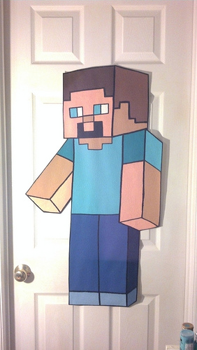 EXTRA LARGE STEVE Minecraft wallpaper mural hand painted by me 282x500
