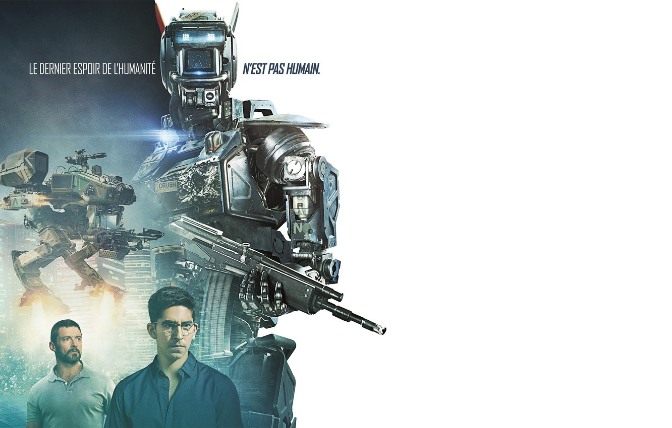 Wallpaper weapons robot white background poster Hugh Jackman 1332x850