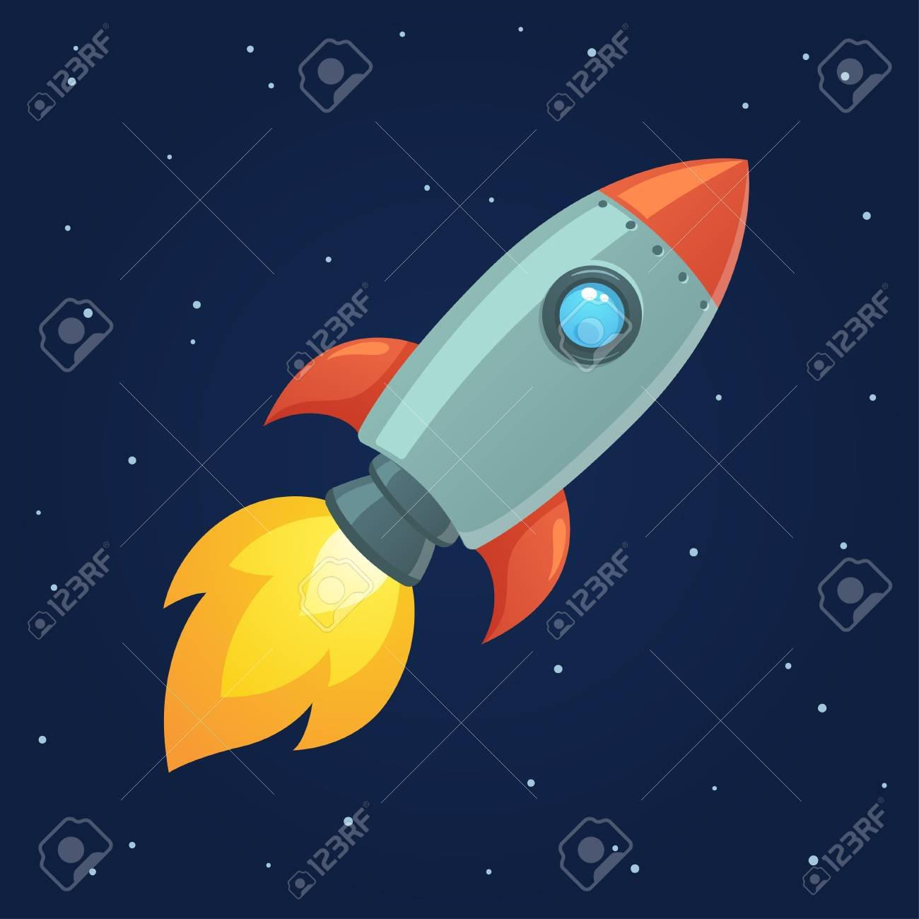 Cartoon Rocket On Space Background Vector Illustration Simple 1300x1300