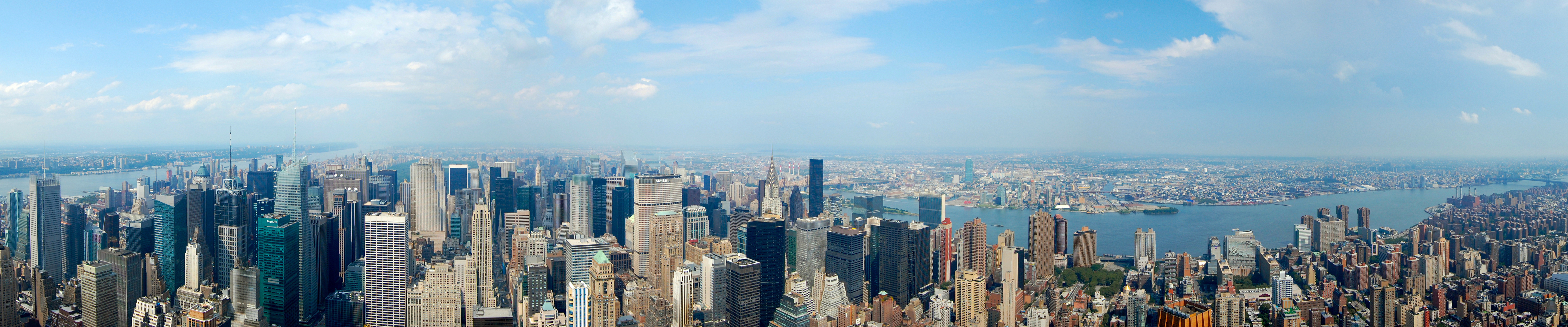 Wallpaper New York Buildings Panorama Triple monitor display 5760 5760x1200