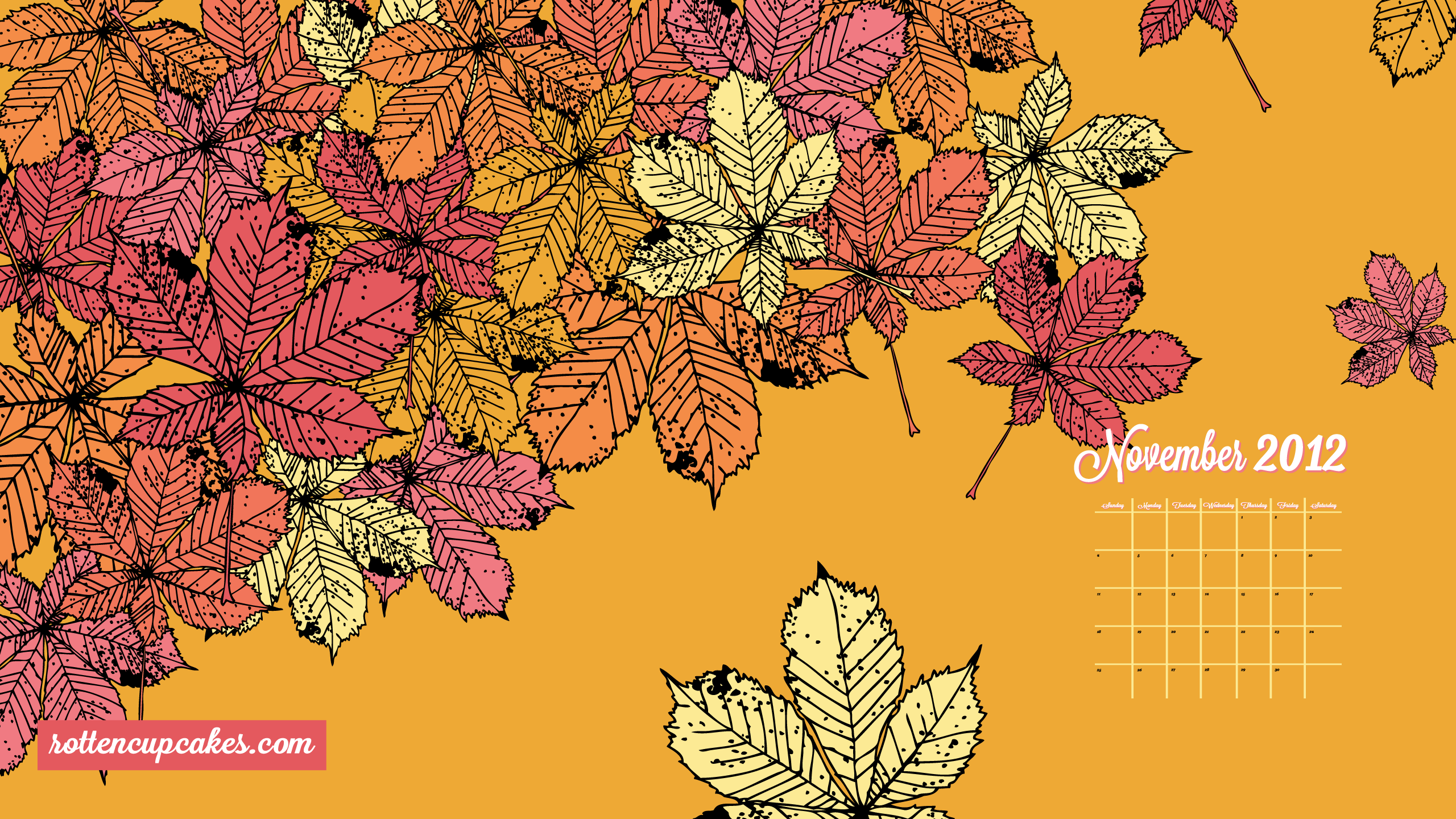 November 2012 Calendar Desktop IPhone Wallpaper