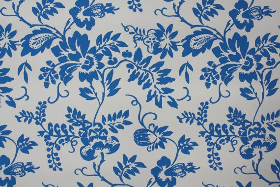 1950s Vintage Wallpaper   Blue and White Floral Wallpaper 570x380