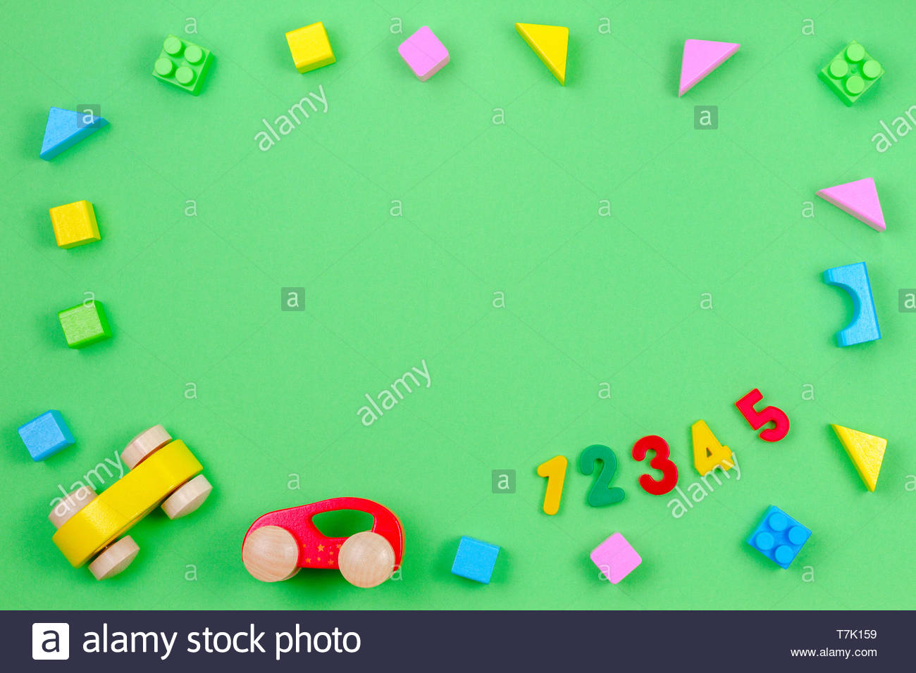 Baby kid toy background Colorful wooden cubes cars and numbers 1300x956