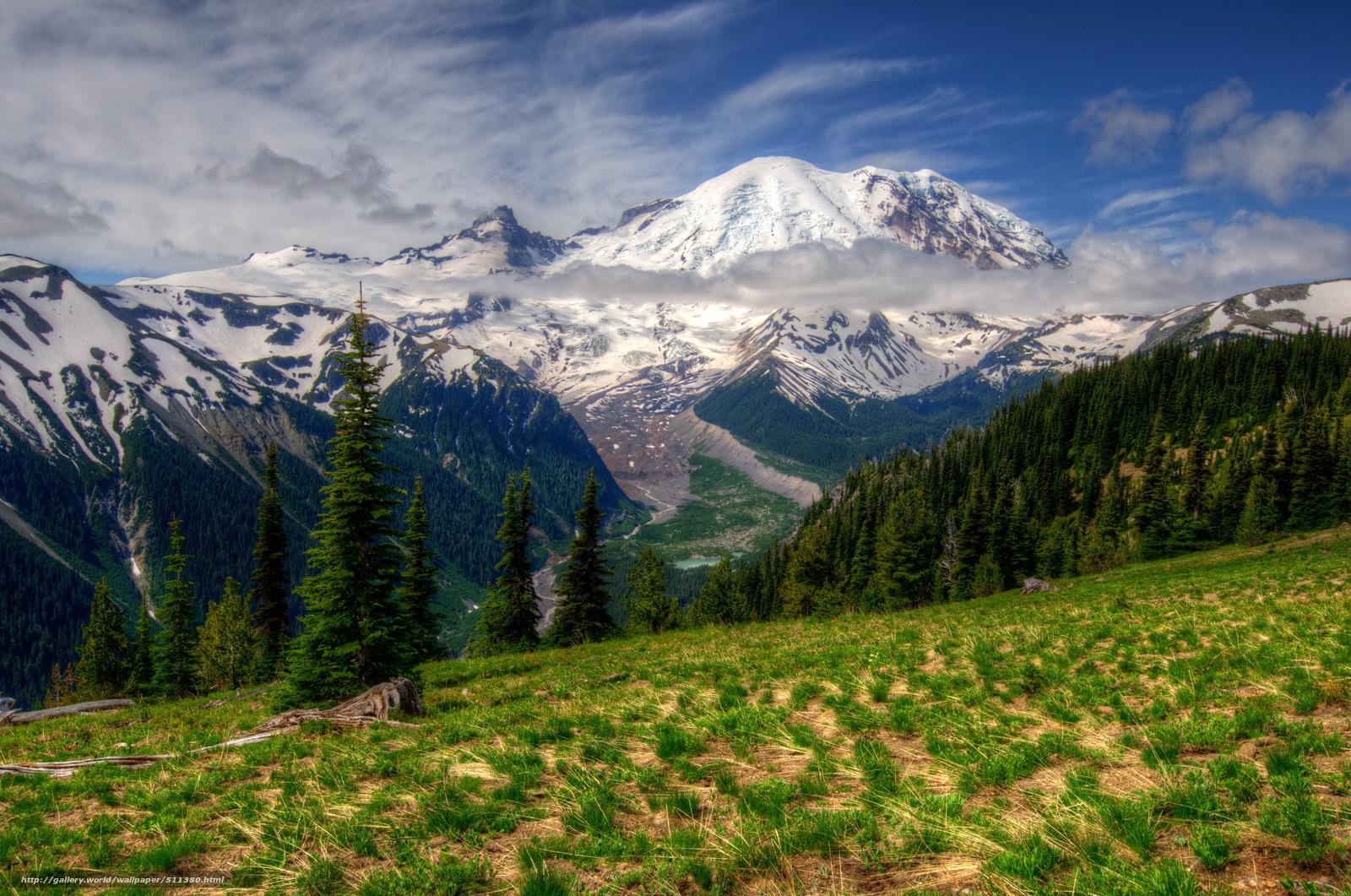 Download wallpaper Mountains landscape mt rainier Washington 1600x1061