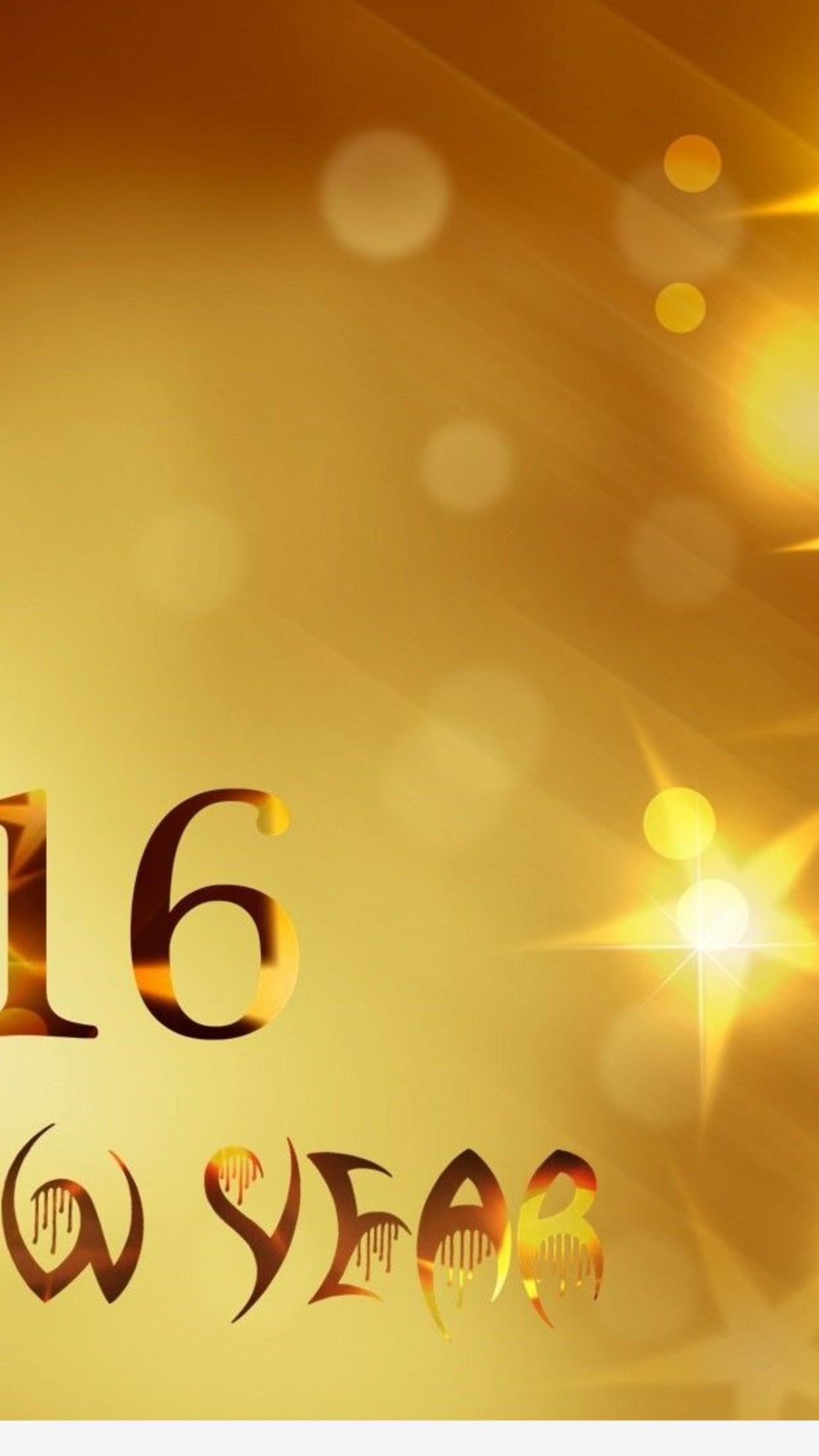 Download Wallpaper 1242x2208 Golden year 2016   Happy New Year 1242x2208