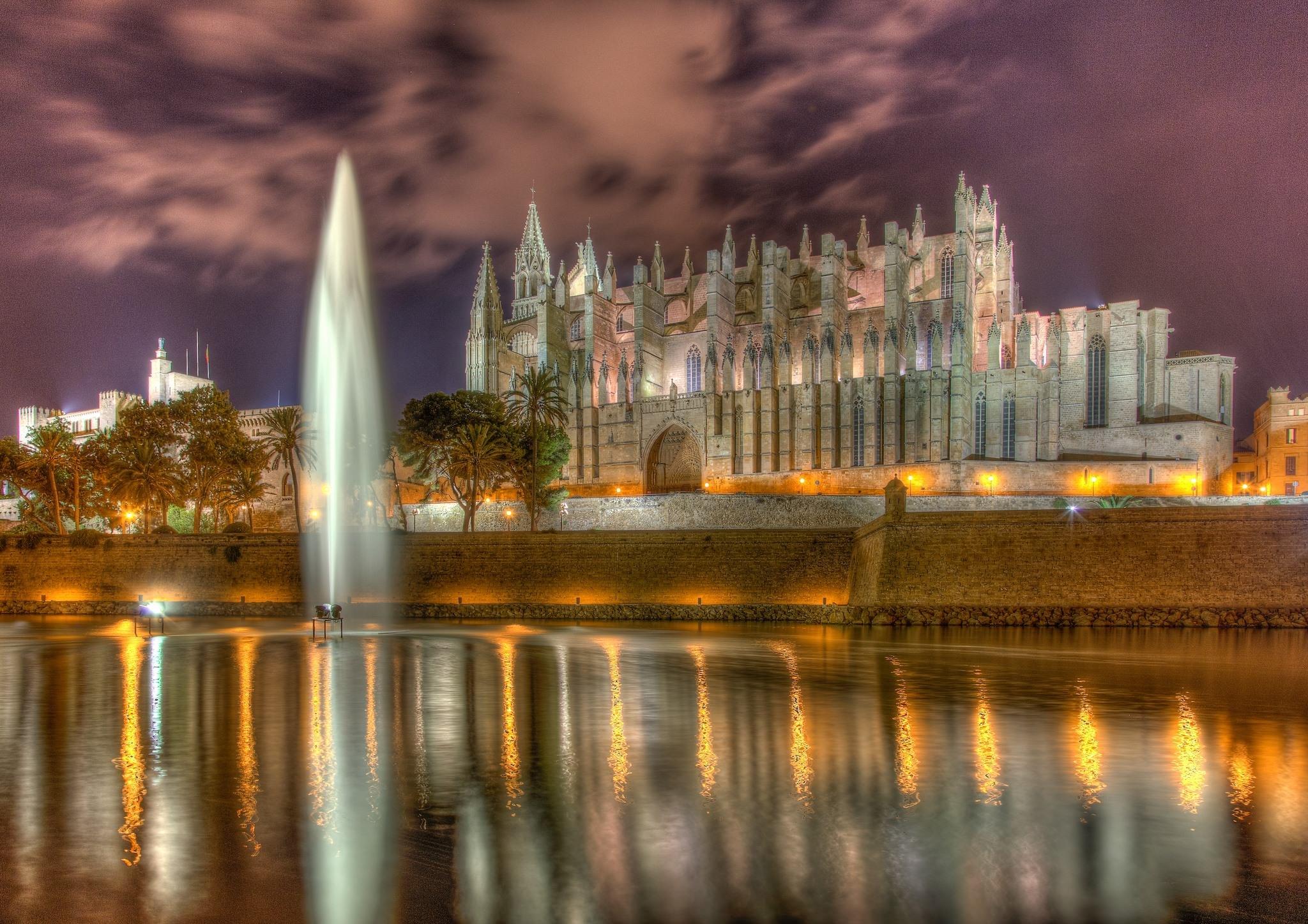 Wallpaper Spain Cathedral Santa Maria La Seou Majorca Palma de 2048x1448