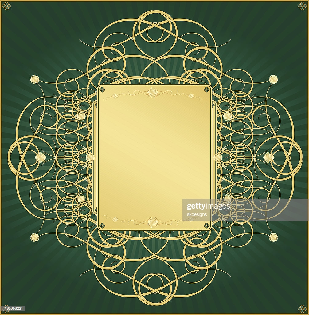 Metallic Gold And Emerald Green Background Design stock 1006x1024
