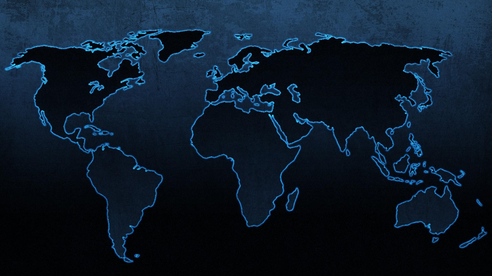 Blue continents maps world map wallpaper 79192 1920x1080