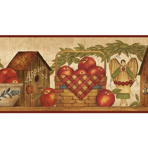 Burgundy Apple Season Wallpaper Border Kitchen Dining 500x500