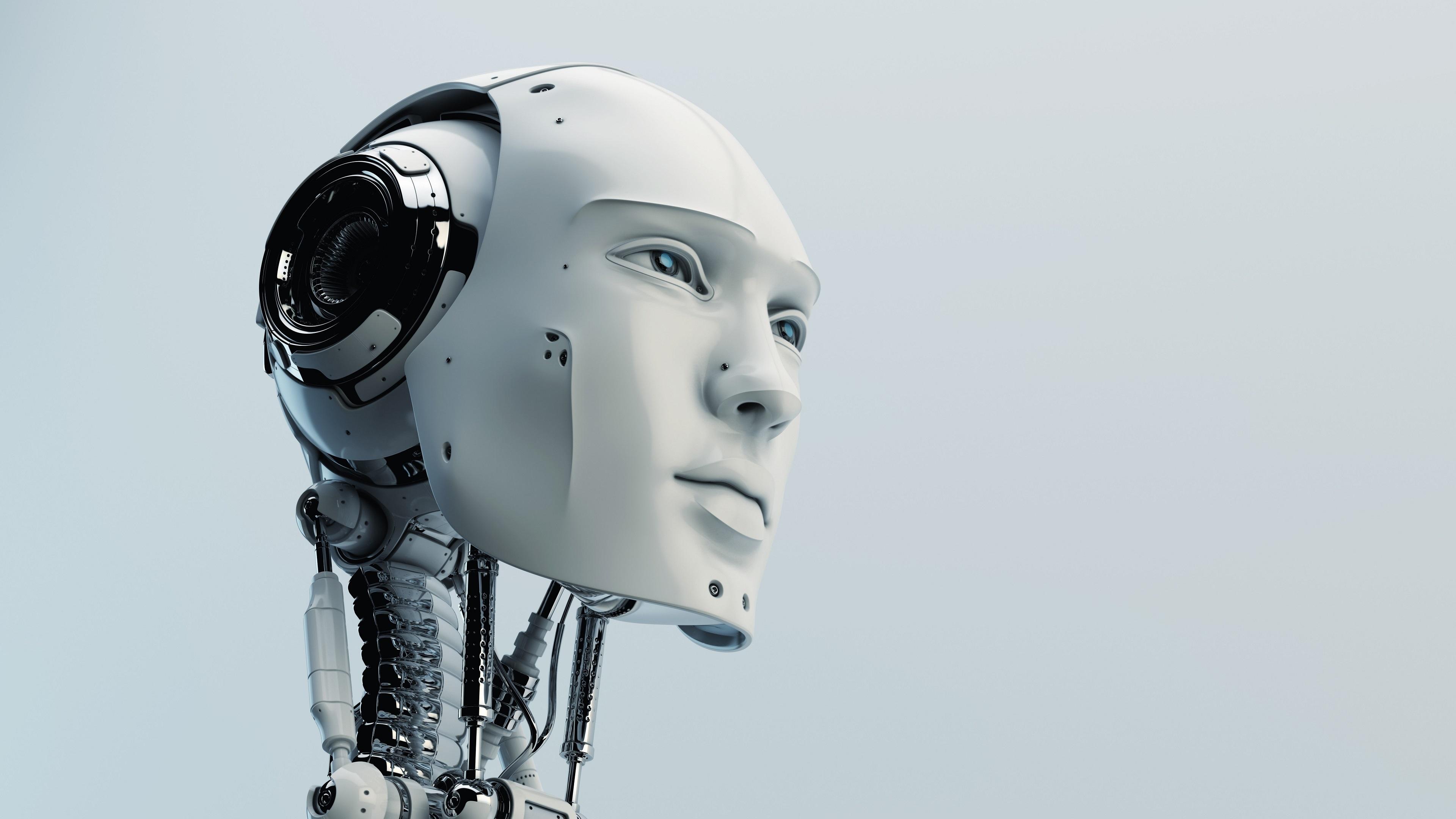 Wallpaper Robot humanoid head high tech 3840x2160 UHD 4K 3840x2160