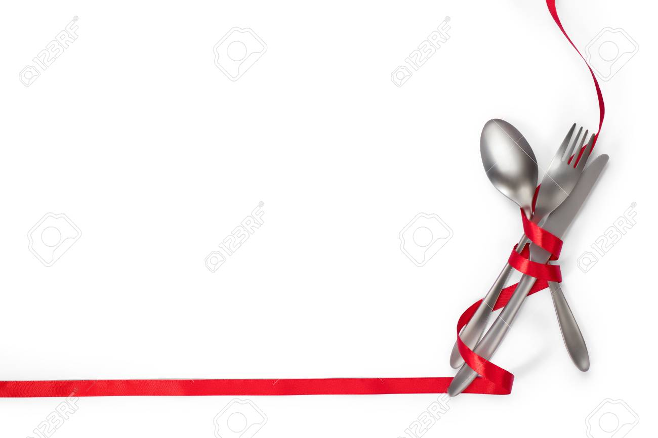 Cutlery With Red Ribbon As Border Isolated On White Background 1300x866