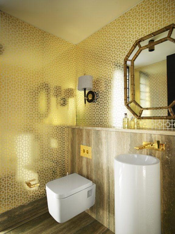 Art Deco Powder Room with interior wallpaper ADM Bathroom Design DW 576x768