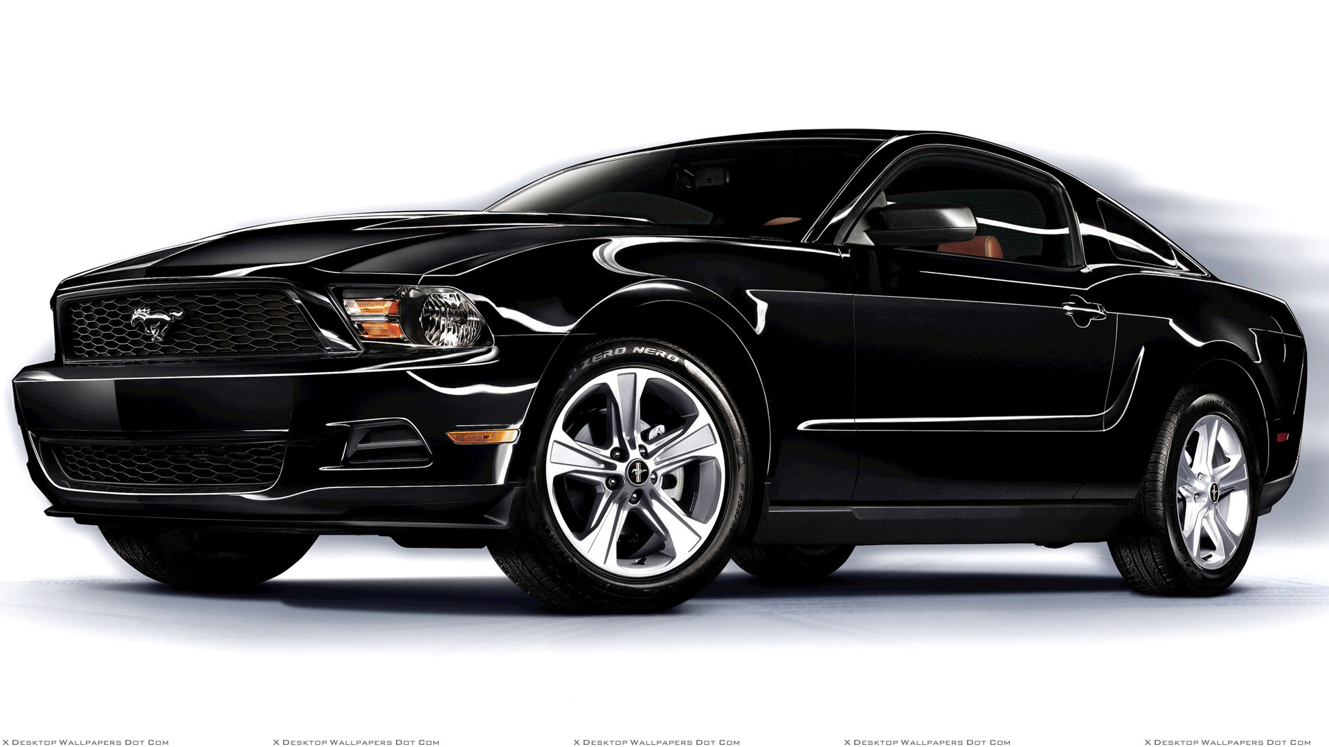 2011 Ford Mustang V6 Front Side Pose in Black Wallpaper 1920x1080
