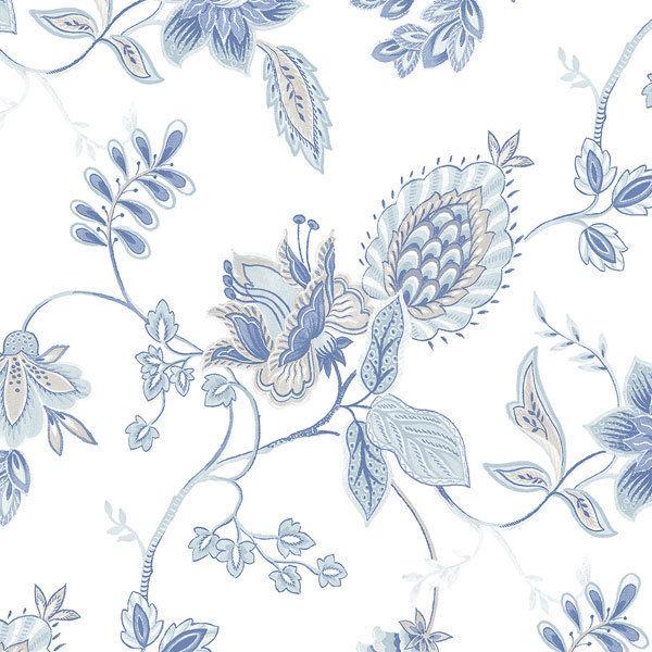 12 31cm Wallpaper Sample Blue Gray Jacobean on Fresh White GC29828 600x600