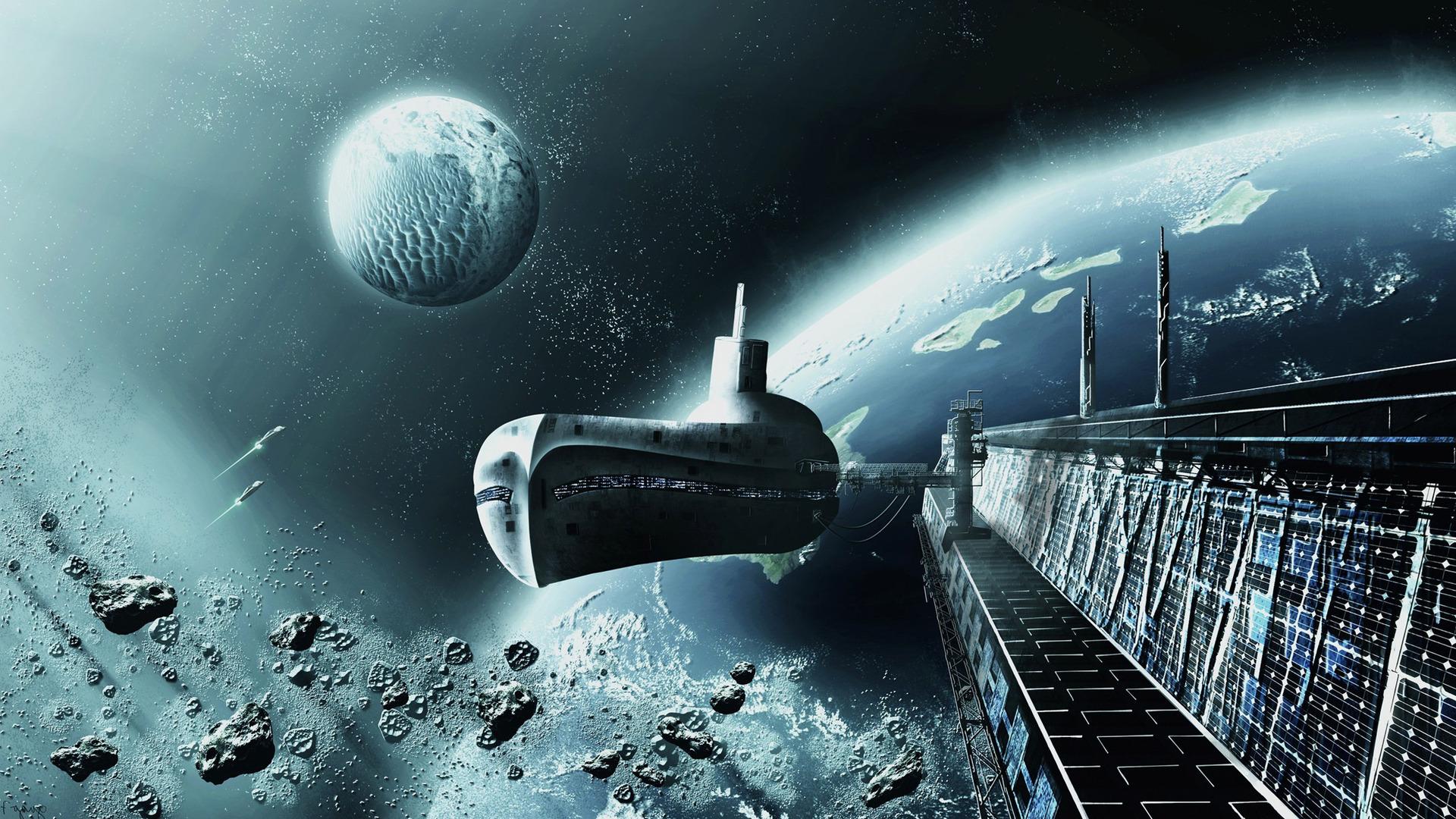 Download Submarine like spaceship wallpaper 1920x1080