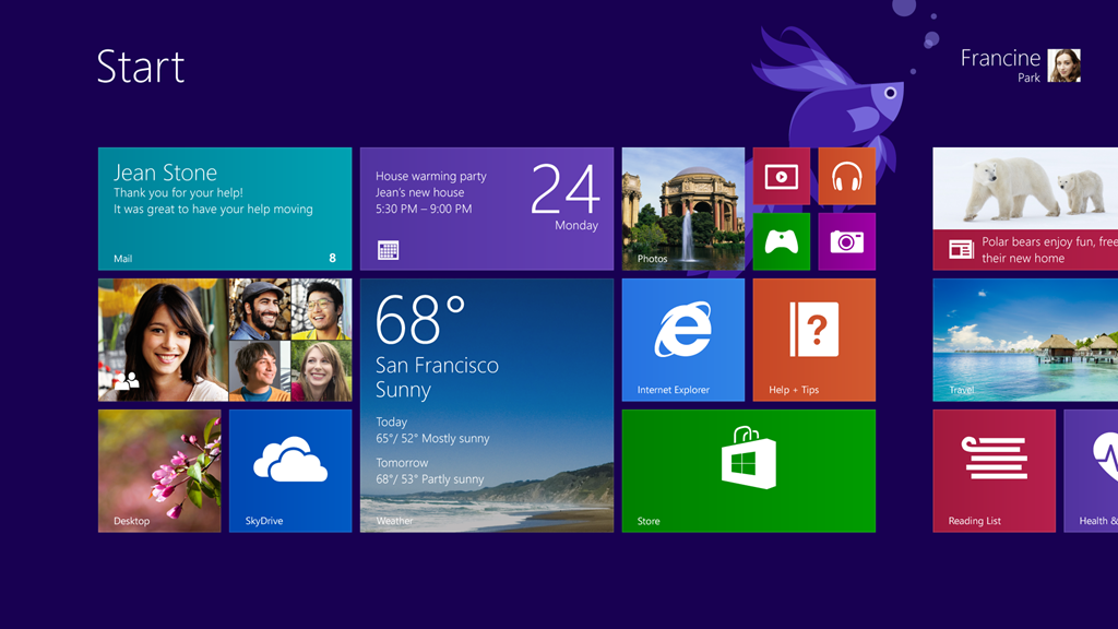 Windows 81 device displays a slideshow of your photos when its 1024x576