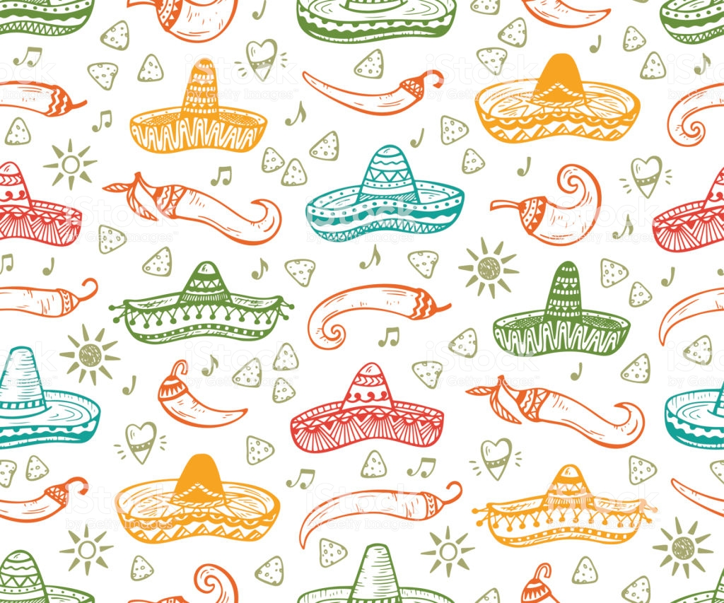 Mexican Seamless Patterns Mexico Vector Background Hand Drawn 1024x853