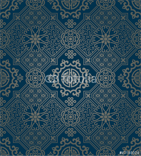 Oriental style wallpaper seamless pattern Stock image and royalty 453x500