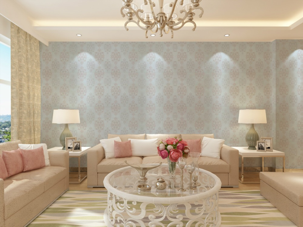 Modern Damask Wallpaper Contemporary Embossed Textured Pink Grey White 1000x750
