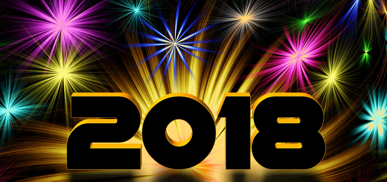 Colourful New Year 2018 Wallpaper Fond dcran HD 3000x1413