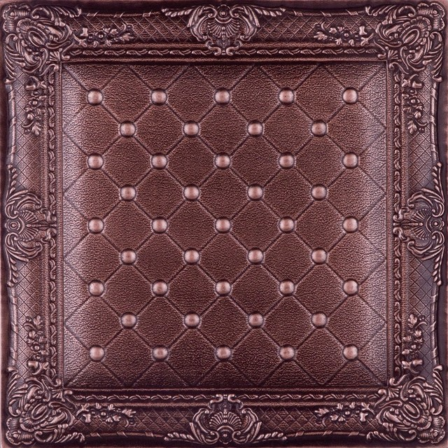 DCT LRT03 Faux Leather Ceiling Tile   Chocolate  wallpaper 640x640