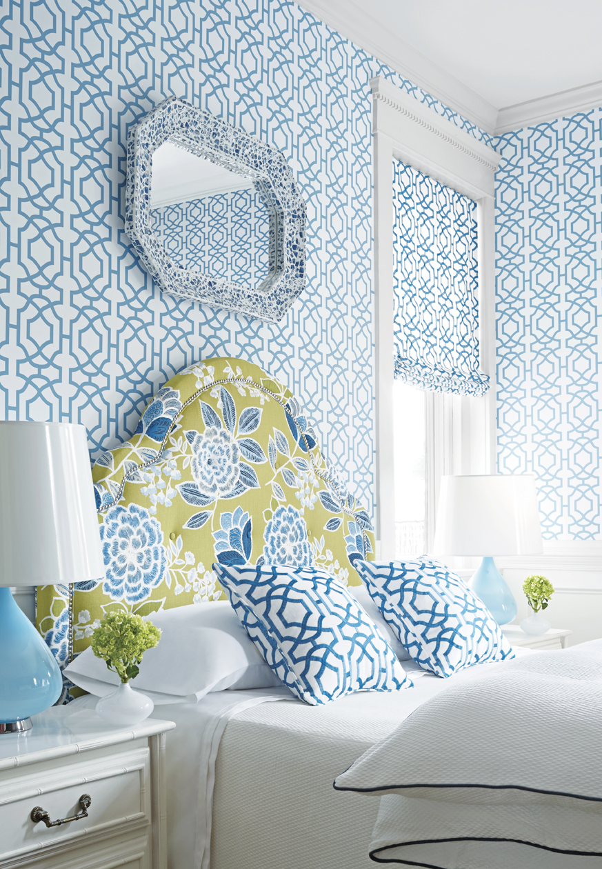 Alston Trellis wallpaper and fabric Sulu fabric on headboard from 873x1260