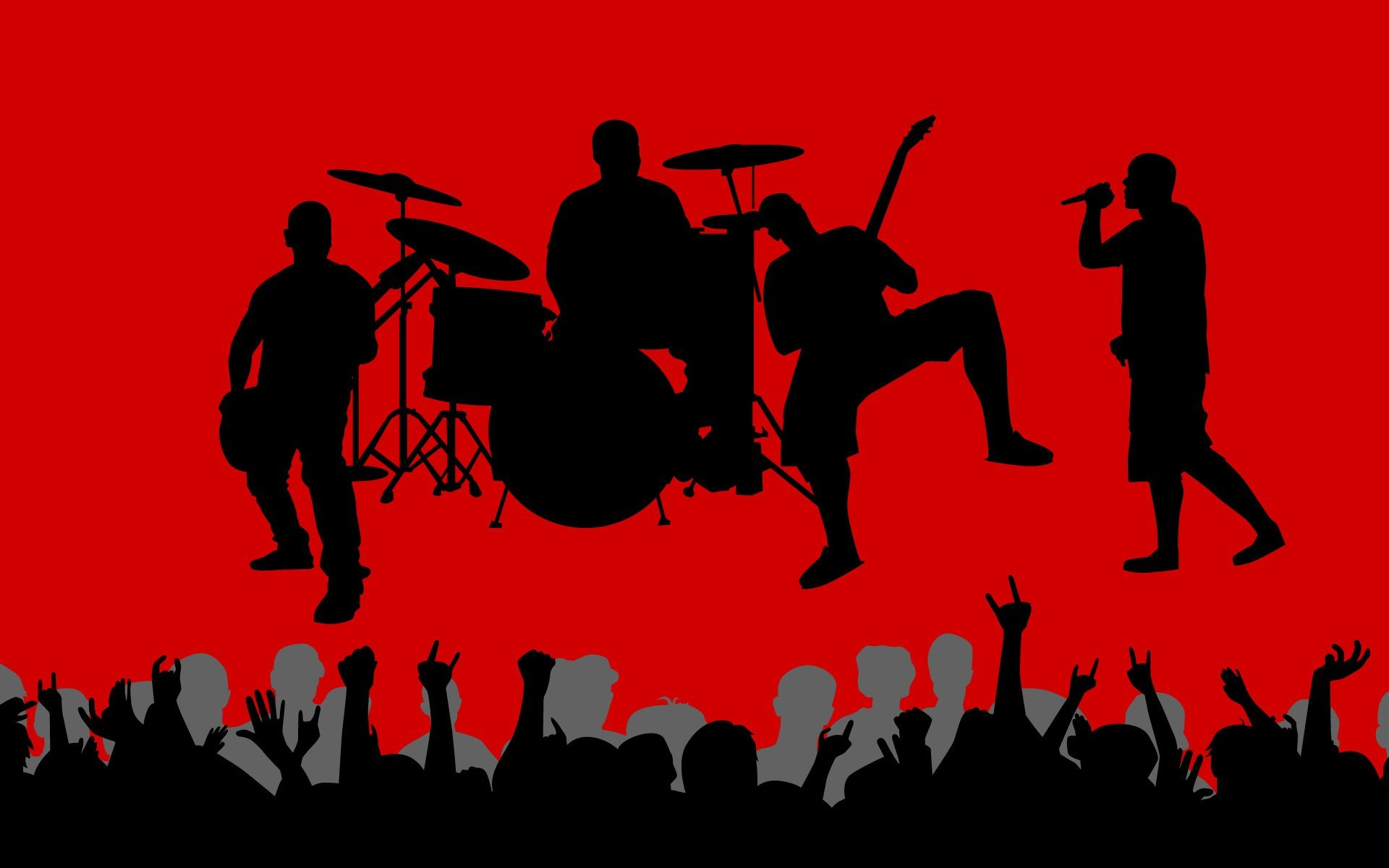 Music vectors shadows crowd band red background wallpaper | 1920x1200 ...