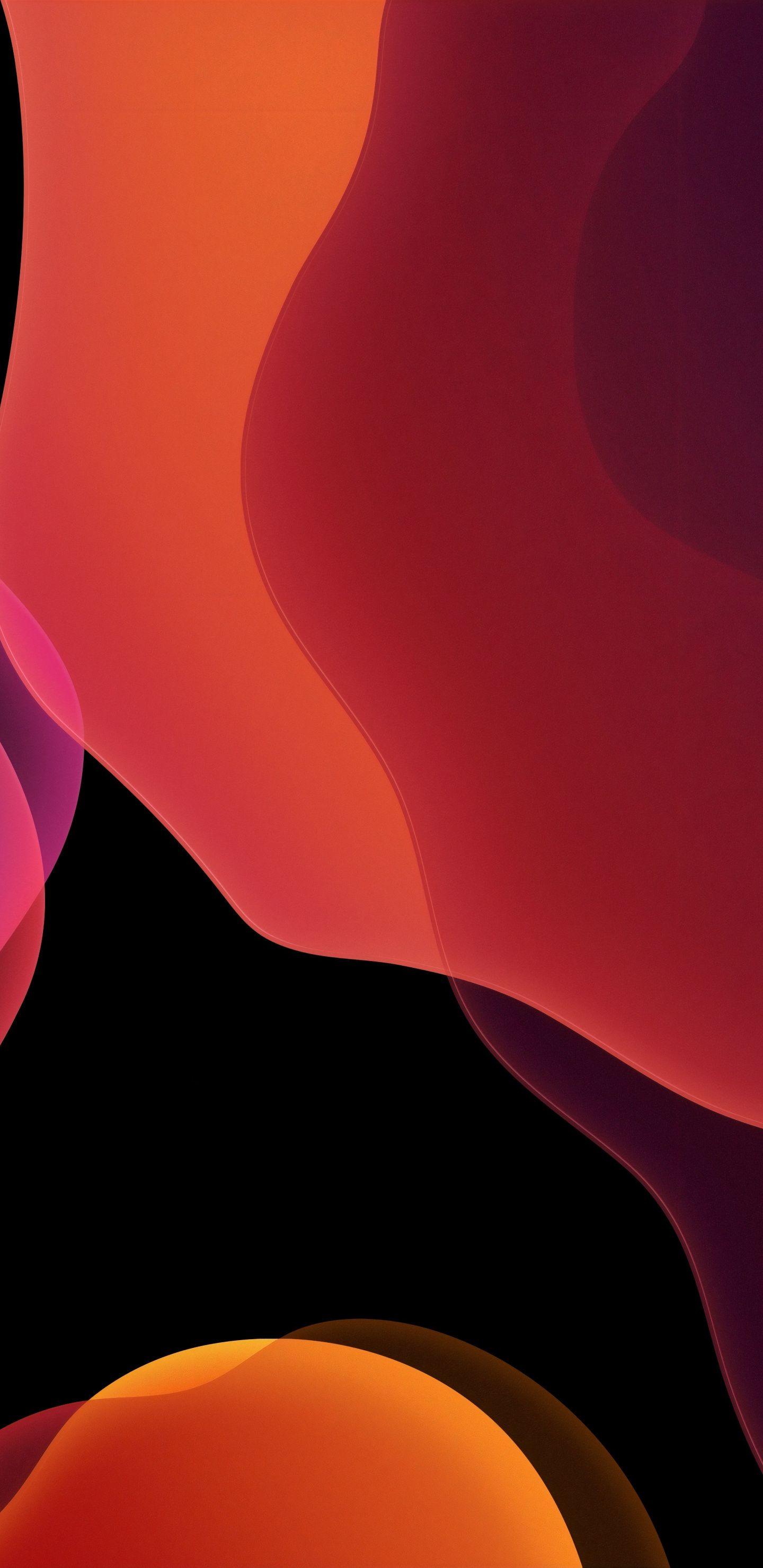 1440x2960 Stock iOS 13 dark orange abstract wallpaper Iphone 1440x2960