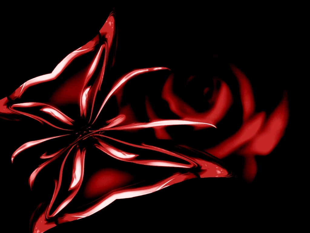 XP wallpaper Red butterfly image on black background with red rose 1024x768