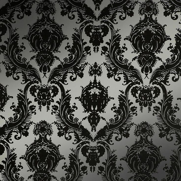 Tempaper Damsel Peel and Stick Wallpaper   BlackSilver 736x736