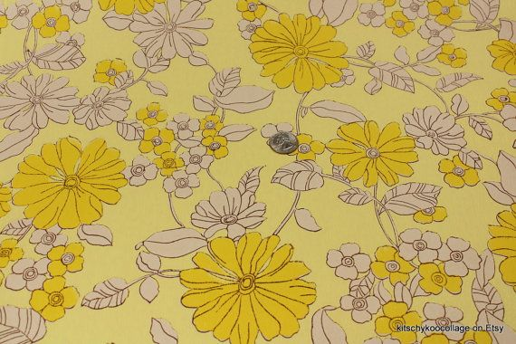 1960s Vintage Wallpaper yellow and brown floralvia Etsy 570x380