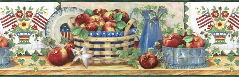 Americana Flag Apple Kitchen Wallpaper Border FF1102 3 770x250