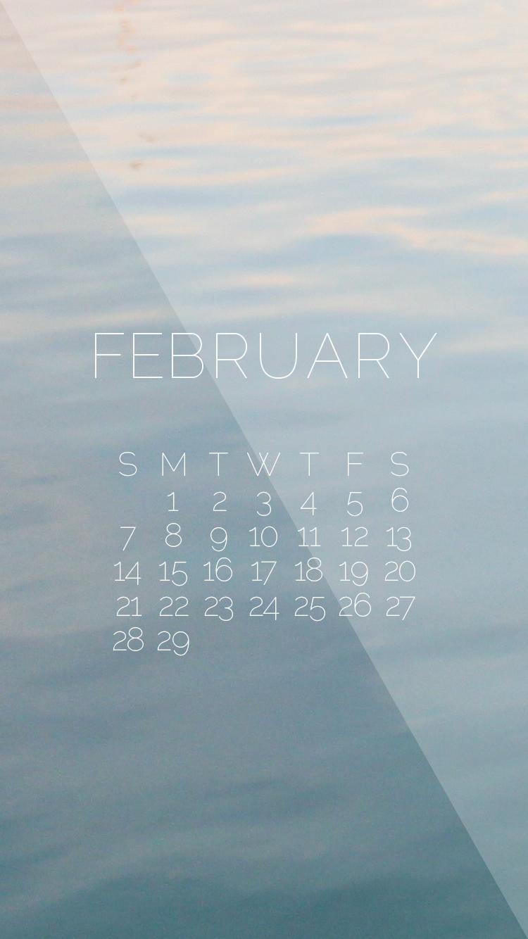February 2016 Wallpaper Water iPhone Calendarpng 750x1334