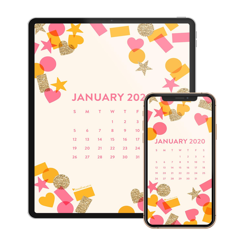 January 2020 Confetti Calendar Wallpaper   Sarah Hearts 1500x1500
