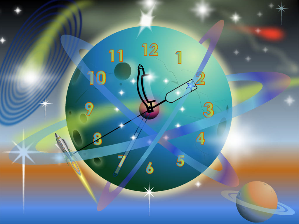 screensaver featuring a rocket attached to a magic clock hand flying 1024x768