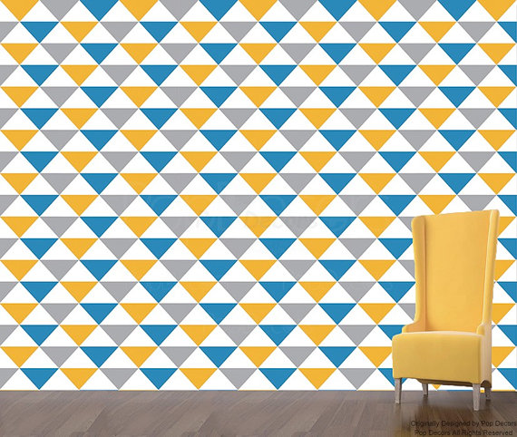Removable Peel and Stick Fabric Wallpaper  Seamless Triangle Wallpaper 570x482
