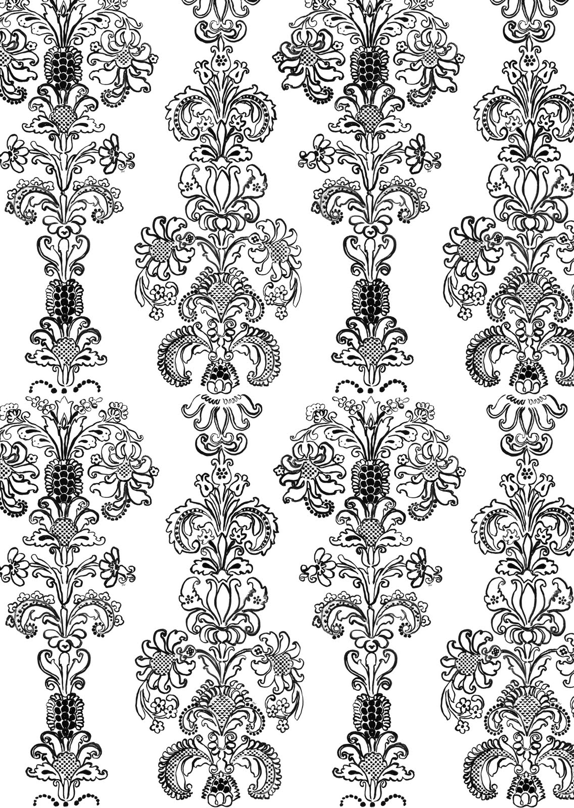 and white hand painted floral brocade wallpaper by Madeline Weinrib 1136x1600