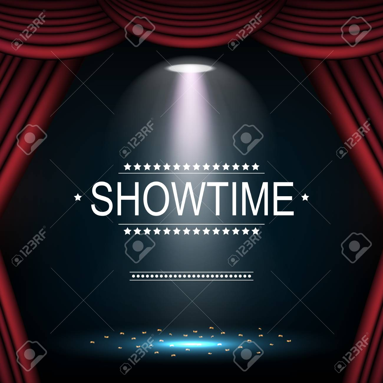 Showtime Background With Curtain Illuminated By Spotlights Stock 1300x1300
